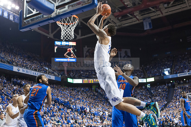 Center Willie Cauley-Stein of the Kentucky Wildcats shoots the ball during the game against the Florida Gators at Rupp Arena on Saturday, March 7, 2015 in Lexington, Ky. Kentucky leads Florida 30-27 at the half. Photo by Michael Reaves | Staff.