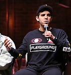 """David Guzman from the 'Hamilton' cast during a Q & A before The Rockefeller Foundation and The Gilder Lehrman Institute of American History sponsored High School student #EduHam matinee performance of """"Hamilton"""" at the Richard Rodgers Theatre on June 6, 2018 in New York City."""
