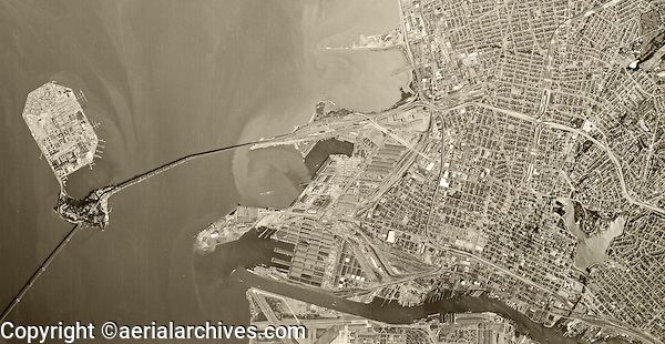 historical aerial photograph Oakland, California, 1970