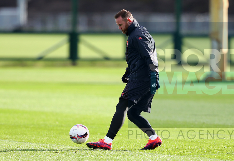 Wayne Rooney of Manchester United during the UEFA Europa League training session at the AON Training Complex, Manchester. Picture date: November 23rd 2016. Pic Matt McNulty/Sportimage