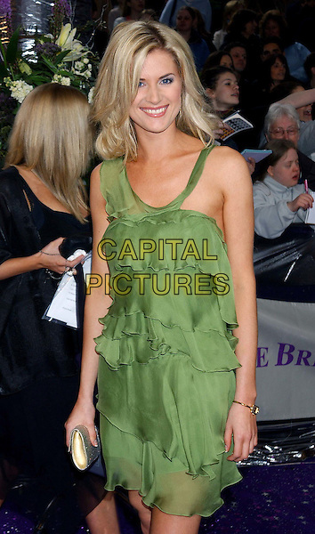 SARAH DUNN.British Soap Awards 2004. BBC Centre, Wood Lane, London.May 8th, 2004.half length, half-length, green dress, ruffles, layers, flowing, summery.www.capitalpictures.com.sales@capitalpictures.com.© Capital Pictures.