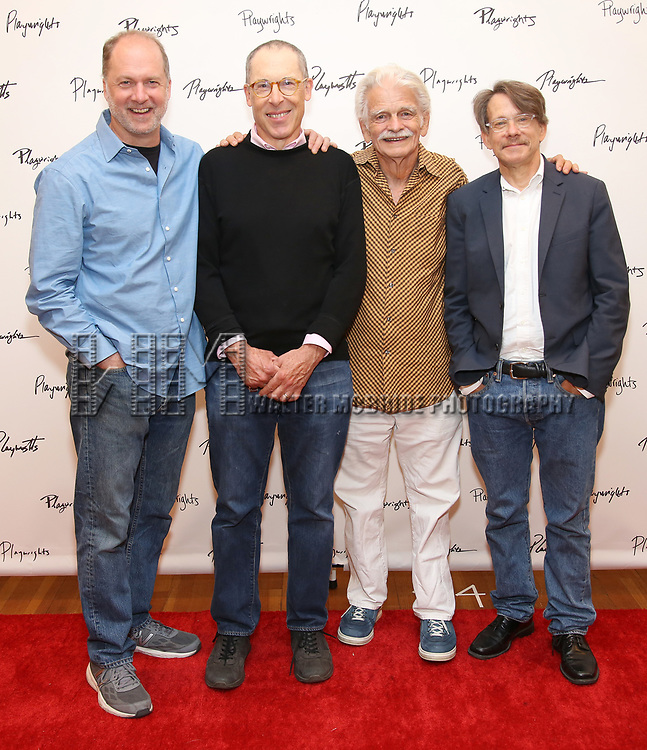 Daniel Jenkins, David Chandler, Ron Crawford and Keith Reddin attend the meet & Greet for Playwrights Horizons New York Premiere pf 'For Peter Pan on her 70th Birthday' on July 25, 2017 at the Playwrights Horizons Studios at  in New York City.