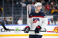 American Jacob Trouba in action during the Ice Hockey World Championship quarter-final match between the US and Finland in the Lanxess Arena in Cologne, Germany, 18 May 2017. Photo: Marius Becker/dpa /MediaPunch ***FOR USA ONLY***