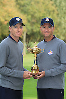 Jim Furyk with Captain Davis Love III at the USA Team photo shoot during Monday's Practice Day of the 39th Ryder Cup at Medinah Country Club, Chicago, Illinois 25th September 2012 (Photo Eoin Clarke/www.golffile.ie)