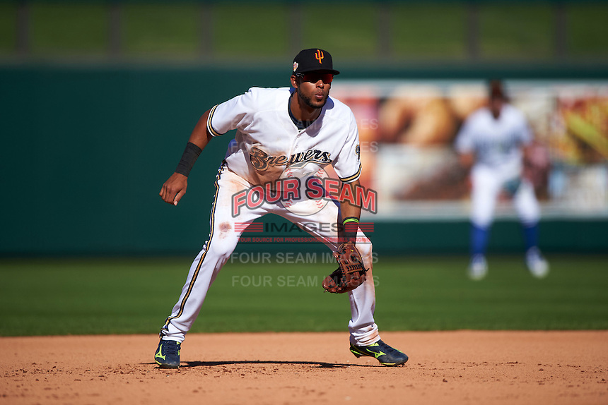 Surprise Saguaros third baseman Yadiel Rivera (10) during an Arizona Fall League game against the Glendale Desert Dogs on October 23, 2015 at Salt River Fields at Talking Stick in Scottsdale, Arizona.  Glendale defeated Surprise 9-6.  (Mike Janes/Four Seam Images)
