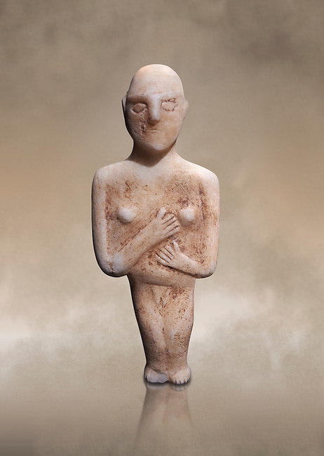 Post canonical female ancient Greek Cycladic figurine, Late Ccladic priod II to Cycladic period III (2500-2000 BC)Museum of Cycladic Art Athens, cat no 312