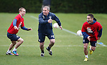 Ally McCoist taking on Andy Mitchell and Ian Black in a sprint