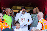 Wayne Lineker (left) Tamer Hassan (centre) & Lewis Bloor (right) enjoy a joke pre match during the 'Greatest Show on Turf' Celebrity Event - Once in a Blue Moon Events at the London Borough of Barking and Dagenham Stadium, London, England on 8 May 2016. Photo by Andy Rowland.