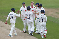 Simon Harmer of Essex celebrates with his team mates after taking the wicket of Ethan Brookes during Warwickshire CCC vs Essex CCC, Specsavers County Championship Division 1 Cricket at Edgbaston Stadium on 11th September 2019