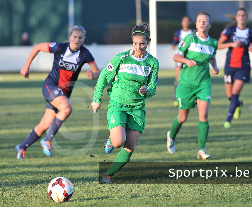 20131211 - HENIN-BEAUMONT , France :  Henin's Gwenaelle Devleesschauwer pictured during the female soccer match between FC Henin Beaumont and Paris Saint-Germain Feminin , of the Ninth matchday in the French First Female Division . Wednesday 11 December 2013. PHOTO DAVID CATRY