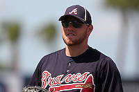 Atlanta Braves first baseman Freddie Freeman #5 during a spring training game against the New York Mets at Digital Domain Park on March 27, 2012 in Port St. Lucie, Florida.  Atlanta defeated New York 7-5.  (Mike Janes/Four Seam Images)