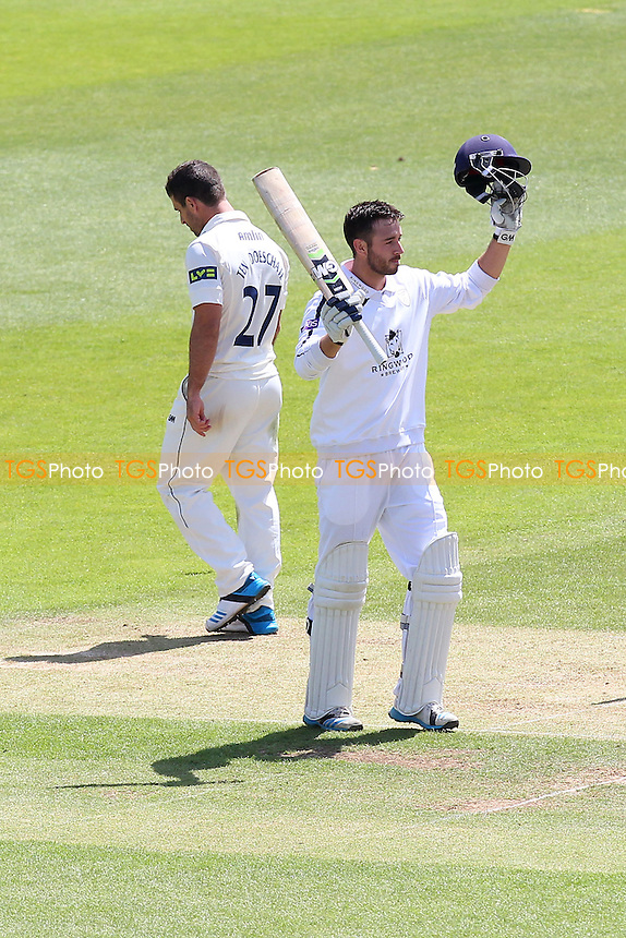 James Vince of Hampshire celebrates his double-century, 200 runs for his team - Hampshire CCC vs Essex CCC - LV County Championship Division Two Cricket at the Ageas Bowl, West End, Southampton - 17/06/14 - MANDATORY CREDIT: Gavin Ellis/TGSPHOTO - Self billing applies where appropriate - 0845 094 6026 - contact@tgsphoto.co.uk - NO UNPAID USE