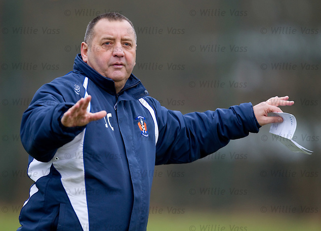 Jimmy Calderwood talking tactics at Kilmarnock training