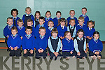 Junior infants on their first day at Scoil Mhuire Killorglin on Monday. Front from left, Owen Foley, Cathal Crowley, James Byrne, Niamh Doyle, Ciara O'Brien, Christina O'Brien and Saoirse Clifford. Seated from left, Oisin Flynn, Sean Cleary, Ivan Crowley, Liam Healy, Michael O'Donnell, Milly Foley, Saoirse Hayes, Tiaronas Svirkis and Austeja Bataitiene. Back from left, Oisin Palmer, Orla Browne, Nessa Healy, Grace Halliday, James Clifford, John Quinn, Steven Cronin.