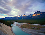 Jasper National Park, Alberta, Canada:  Sunrise on Mount Christie over the Athabasca River Valley