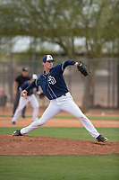 San Diego Padres relief pitcher Caleb Boushley (23) during a Minor League Spring Training game against the Seattle Mariners at Peoria Sports Complex on March 24, 2018 in Peoria, Arizona. (Zachary Lucy/Four Seam Images)