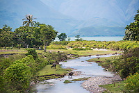 River life at Lake Toba (Danau Toba), the largest volcanic lake in the world, North Sumatra, Indonesia