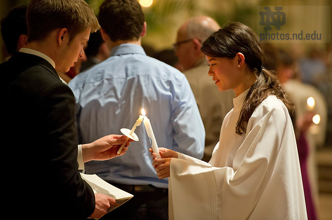Mar, 30, 2013; Easter Vigil. (Photo by Barbara Johnston/University of Notre Dame)