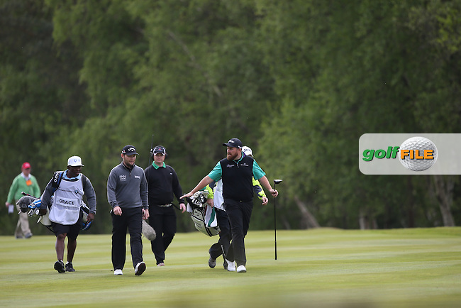 Shane Lowry (IRL) heads down the 9th with Brandon Grace (RSA) during Round Two of the 2015 BMW PGA Championship over the West Course at Wentworth, Virginia Water, London. 22/05/2015Picture David Lloyd, www.golffile.ie.