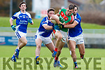 Padraig Griffin and Cormac Coffey Kerins O'Rahillys in action against Kevin McCarthy  Kilcummin Senior Football Championship Relegation Playoff in Austin Stack Park on Sunday
