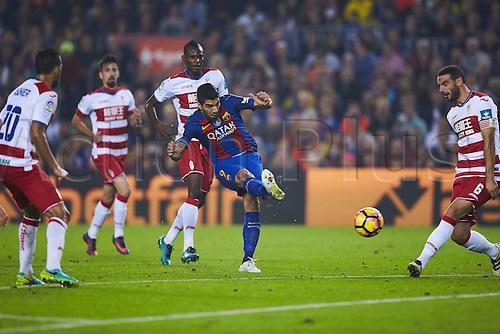 29.10.2016 Barcelona. La Liga football league.  Luis Suarez (FC Barcelona), during La Liga soccer match between FC Barcelona and Granada CF, at the Camp Nou stadium in Barcelona