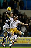 Steve Morison of Millwall wins the header during the Sky Bet Championship match between Millwall and Sheff Wednesday at The Den, London, England on 20 February 2018. Photo by Carlton Myrie.