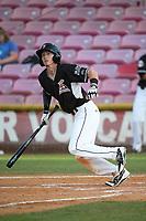 Logan Baldwin (1) of the Salem-Keizer Volcanoes bats against the Eugene Emeralds at Volcanoes Stadium on July 24, 2017 in Keizer, Oregon. Eugene defeated Salem-Keizer, 7-6. (Larry Goren/Four Seam Images)
