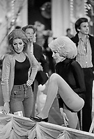 "Actress Janet Leigh (R) stretches backstage at the ""Circus of the Stars,"" (CBS Special), Santa Monica Civic Auditorium, November, 1976. Photo by John G. Zimmerman"