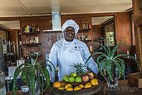 Africa, Botswana, Khwai, The Lodge, Feline Fields, edge of the Kalahari desert. Chef at the Lodge.