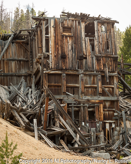 Old mine building near the Ruby shaft mine in Granite, MT