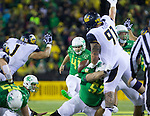 Oct 07, 2015; Eugene, OR, USA; Oregon Ducks place kicker Aidan Schneider (41) makes a field goal for the Ducks first points against the California Golden Bears at Autzen Stadium. <br /> Photo by Jaime Valdez