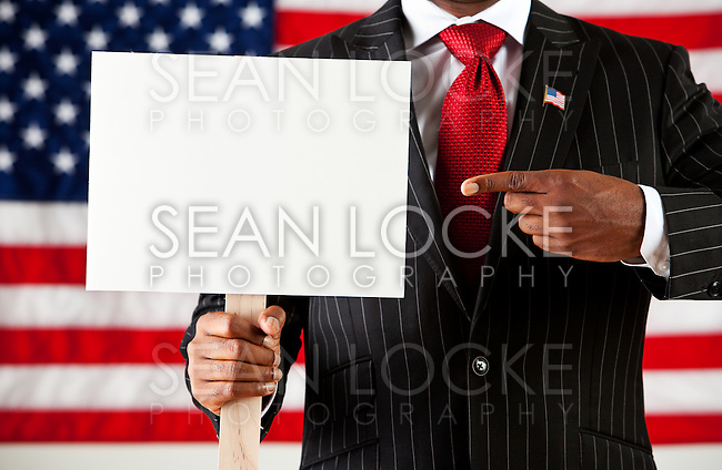 Series with an anonymous African-American policitian on a United States Flag background.