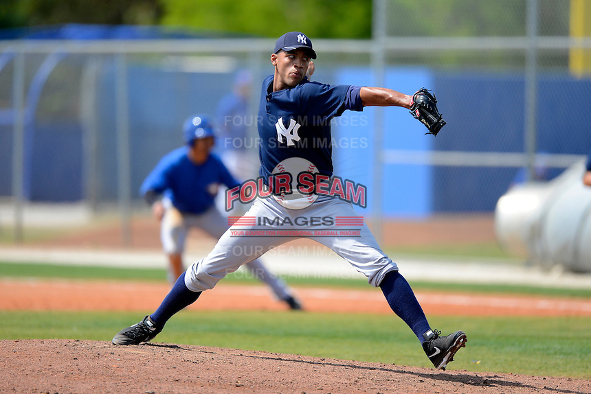 New York Yankees minor league pitcher Andury Acevedo #41 during a Spring Training game against the Toronto Blue Jays at the Englebert Complex on March 19, 2013 in Dunedin, Florida.  (Mike Janes/Four Seam Images)