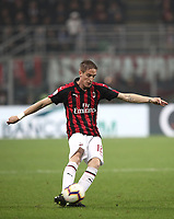 Calcio, Serie A: AC Milan - Inter Milan, Giuseppe Meazza (San Siro) stadium, Milan on 17 March 2019.  <br /> Milan's Andrea Conti in action during the Italian Serie A football match between Milan and Inter Milan at Giuseppe Meazza stadium, on 17 March 2019. <br /> UPDATE IMAGES PRESS/Isabella Bonotto