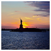 NEW YORK, NY - AUGUST 14: Statue of Liberty at sundown in New York, New York on August 14, 2012. Photo Credit: Thomas R Pryor