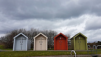 Pictured: Foor coloured wooden huts at The Helix.<br /> Re: The Helix in Falkirk, Scotland, UK. 07 April 2018