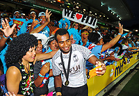 Fiji captain Jerry Tuwai celebrates with fans at the end of day two of the 2018 HSBC World Sevens Series Hamilton at FMG Stadium in Hamilton, New Zealand on Saturday, 3 February 2018. Photo: Dave Lintott / lintottphoto.co.nz