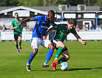 Lincoln City's Alex Woodyard vies for possession with Eastleigh's Hakeem Odoffin<br /> <br /> Photographer Andrew Vaughan/CameraSport<br /> <br /> Vanarama National League - Eastleigh v Lincoln City - Saturday 8th April 2017 - Silverlake Stadium - Eastleigh<br /> <br /> World Copyright &copy; 2017 CameraSport. All rights reserved. 43 Linden Ave. Countesthorpe. Leicester. England. LE8 5PG - Tel: +44 (0) 116 277 4147 - admin@camerasport.com - www.camerasport.com