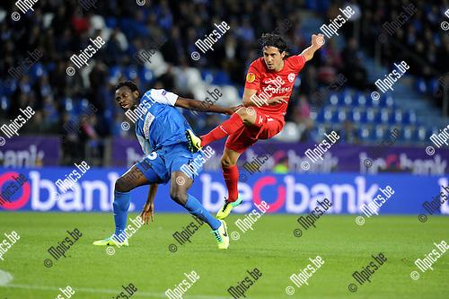 2013-10-03 / Voetbal / seizoen 2013-2014 / UEFA EUROPA LEAGUE / KRC Genk - FC Thun / Kumordzi with Nelson Ferreira (r. Thun)<br /><br />Foto: Mpics.be