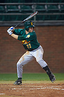 Siena Saints center fielder Dan Swain (22) at bat during a game against the Stetson Hatters on February 23, 2016 at Melching Field at Conrad Park in DeLand, Florida.  Stetson defeated Siena 5-3.  (Mike Janes/Four Seam Images)