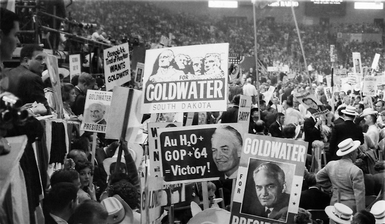 Barry Goldwater supporters holding a sign at the Republican National Convention at Cow Palace in San Francisco. July 16, 1964 (Photo by Mickey Senko/CQ Roll Call)