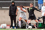 Palos Verdes, CA 01/26/10 - Kelsey Braunecker (MC #6) and Haley Rosen (23) in action during the Mira Costa vs Palos Verdes Girls Varsity soccer game at Palos Verdes High School.