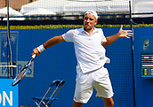 June 19th 2017, Queens Club, West Kensington, London; Aegon Tennis Championships, Day 1; Steve Darcis (BEL) hits a backhand during his singles match against number seven seed Tomas Berdych (CZE); Berdych won in straight sets