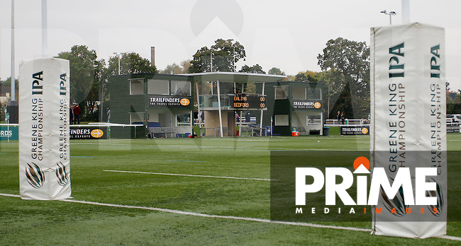 A general view of the Ealing Trailfinders RFC's media area during the Greene King IPA Championship match between Ealing Trailfinders and Bedford Blues at Castle Bar , West Ealing , England  on 29 October 2016. Photo by Carlton Myrie / PRiME Media