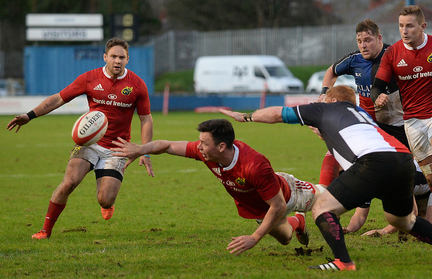 Munster A Matt D&rsquo;arcy off loads <br /> <br /> Photographer Ian Cook/CameraSport<br /> <br /> Rugby Union - British and Irish Cup Pool 3 - Ospreys Premiership Select v Munster A - Sunday 20th December 2015 - Brewery Field, Bridgend<br /> <br /> &copy; CameraSport - 43 Linden Ave. Countesthorpe. Leicester. England. LE8 5PG - Tel: +44 (0) 116 277 4147 - admin@camerasport.com - www.camerasport.com