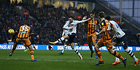 Preston North End's Alan Browne shoots past Hull City's Tommy Elphick but sees his shot go over the bar<br /> <br /> Photographer Stephen White/CameraSport<br /> <br /> The EFL Sky Bet Championship - Preston North End v Hull City - Wednesday 26th December 2018 - Deepdale Stadium - Preston<br /> <br /> World Copyright &copy; 2018 CameraSport. All rights reserved. 43 Linden Ave. Countesthorpe. Leicester. England. LE8 5PG - Tel: +44 (0) 116 277 4147 - admin@camerasport.com - www.camerasport.com