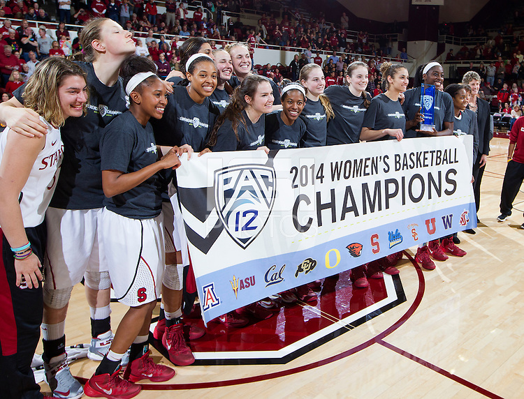 Stanford's celebrates their victory over Washington State. Stanford women's basketball  vs Washington State at Maples Pavilion, Stanford, California on March 1, 2014.