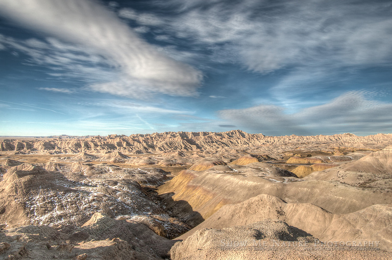 An HDR photograph of looking over the Badlands NP, South Dakota