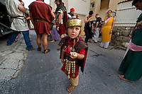 Roman legionnaires and gladiators, coming from the Gladiator School in Rome, march past the streets of Split to celebrate the Diocletian's Night in Split..The Roman emperor Diocletian was the first inhabitant of Split. He started to build his palace in around 293 AD.