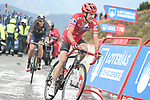 Red Jersey Nicolas Edet (FRA) Cofidis approaches the finish line of Stage 9 of La Vuelta 2019 running 99.4km from Andorra la Vella to Cortals d'Encamp, Spain. 1st September 2019.<br /> Picture: Colin Flockton | Cyclefile<br /> <br /> All photos usage must carry mandatory copyright credit (© Cyclefile | Colin Flockton)